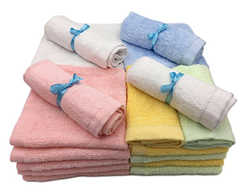 Bamboo Baby Washcloths Soft Organic White 6 Pack for Bathing and Skin Care