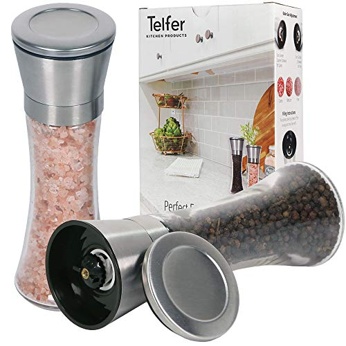 (Telfer Stainless Steel Salt and Pepper Grinder, Set of 2, Adjustable Coarseness, Ceramic Grinder Gears, Tall Glass Container, Perfect for Kitchen or Dining Room)