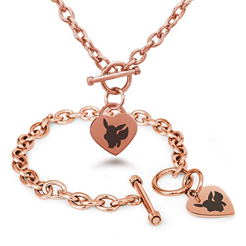 Rose Gold Plated Stainless Steel 1st Gen Eevee Pokémon Heart Charm, Bracelet & Necklace Set