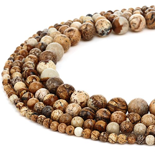 RUBYCA Wholesale Natural Picture Jasper Gemstone Round Loose Bead for Jewelry Making 1 Strand - 4mm -