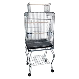 YML 24-Inch Dometop Parrot Cage with Stand, Antique Silver