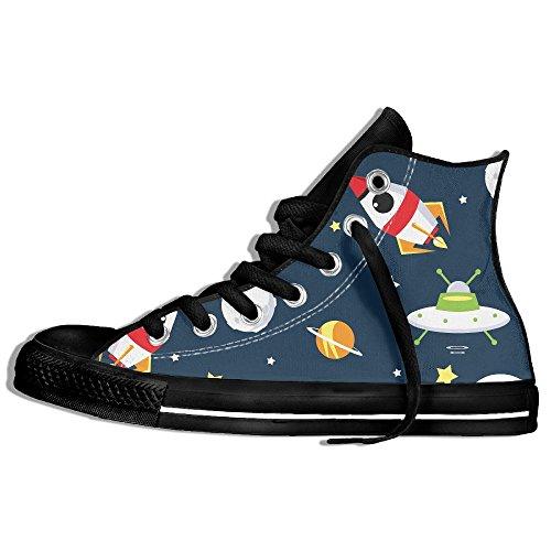 Classiche Sneakers Alte Scarpe Di Tela Anti-skid Spazio Cartoon Casual Da Passeggio Per Uomo Donna Nero