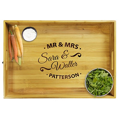 Premium Monogrammed Bamboo Wood Serving Tray with Handles - Personalized and Custom Engraved for Free