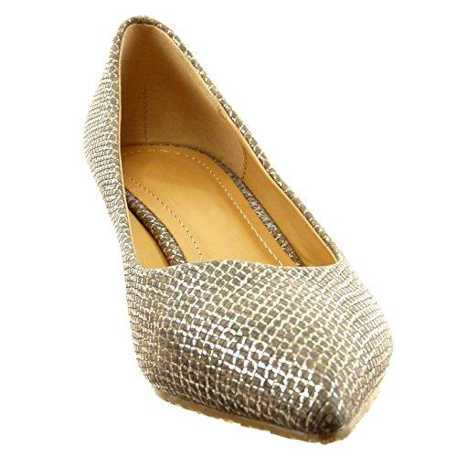 Sopily - Scarpe da Moda scarpe decollete alla caviglia donna pelle di serpente lines Tacco a blocco tacco alto 3.5 CM - Khaki