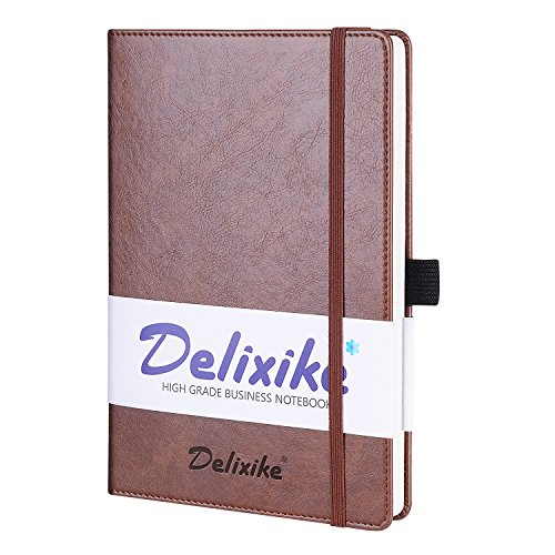 Brown Moleskin (Super Thick Classic Bound Notebook with Pen Loop - PU Leather, A5 Wide Ruled Hardcover Writing Notebooks with Pocket + Banded, Large, 192 Pages, 8.4 x 5.7 in - Red Brown)