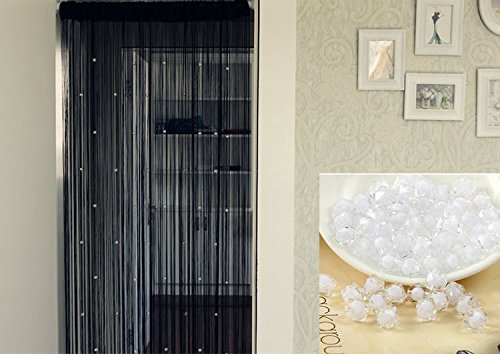 SunAngel 100x200 cm Fashion Decoration Beaded String Curtain Door Divider Crystal Beads Tassel Screen Home Decoration (Crystal Beads Black) (Door Bead)