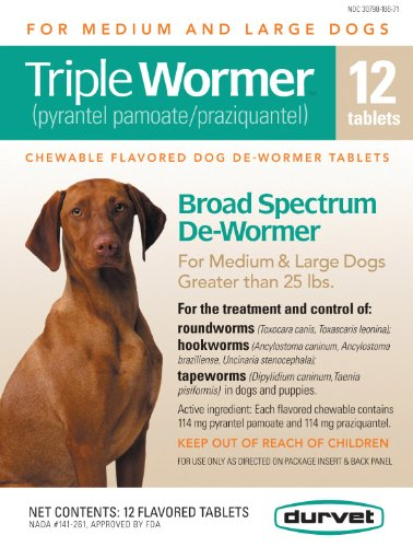 Triple Medium and Large Dog Wormer Size: 12 Count, My Pet Supplies