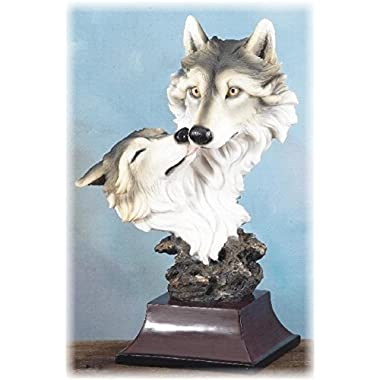 16 Inch Male and Female Wolf Head Companion Couple Display Figurine