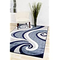 0327 Blue White Gray 5 x 7 Area Rug Abstract Carpet by Persian-Rugs