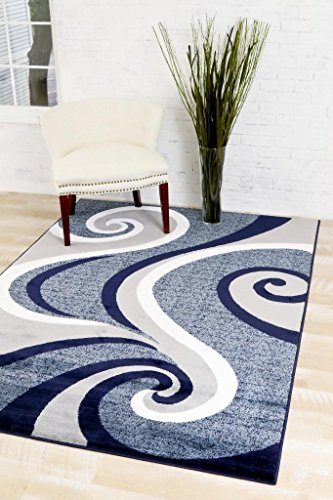 0327 Blue 7'10x10'6 Area Rug Carpet Large New