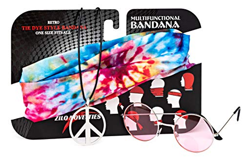 Woman's Hippie Costume Set. Includes John Lennon Sunglasses, Peace Sign Necklace & Headband to Make You The Hit of The (Glass Peace Sign)