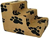 Best Pet Supplies 3-Step Foam Pet Stairs/Steps, 18 by 15 by 13-Inch, Black Paw on Beige