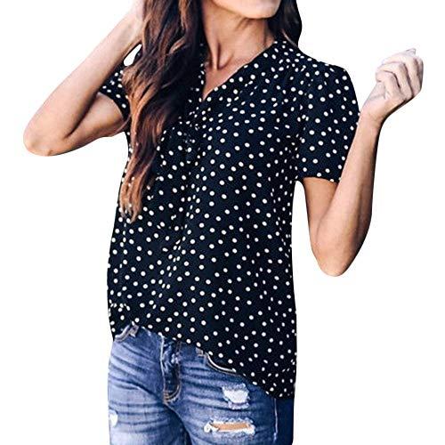 (VEFSU Women Polka-Dot Bell Short Sleeve Flare Print T-Shirt V-Neck Casual Tops Blouse)