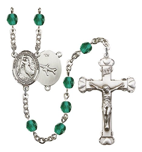 Silver Finish St. Joseph of Cupertino Rosary with 6mm Zircon Color Fire Polished Beads, St. Joseph of Cupertino Center, and 1 5/8 x 1 inch Crucifix, Gift ()