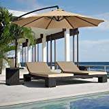 FARLAND Offset umbrella 10 Ft Cantilever Patio Umbrella Outdoor Market umbrellas with cross base (Beige) Review