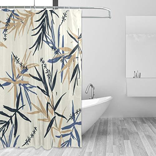 KVMV Shower Curtain Beautiful Seamless Pattern Vector Brush Blue Waterproof Fabric Bathroom Curtains Thick Bathtub Decor Set with Hooks 60