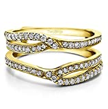 TwoBirch Infinity Wedding Ring Guard Enhancer with 0.39 carats of Cubic Zirconia in Yellow Plated Sterling Silver