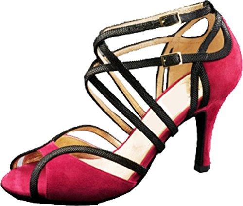 Abby Q-6132 Donna Latino Tango Cha-cha Salsa Party Scarpe Da Ballo Danza Tacco Personalizzato Rosa