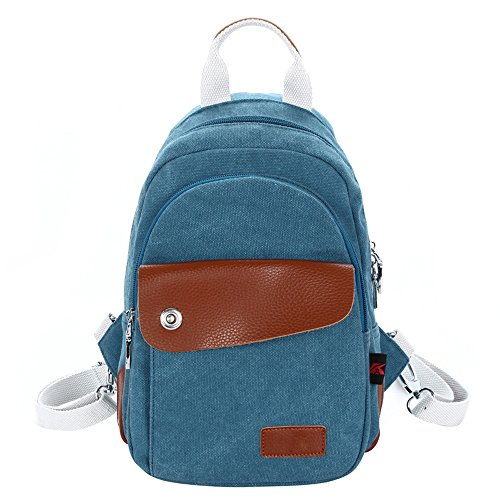 Hiigoo Small Handbags Backpack Casual Canvas Shoulder Bags Multi-functional Daypack (Blue)