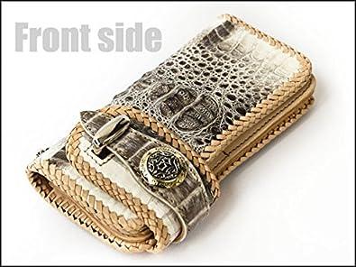 022969d50210 GODANE (ゴダン) ハンドメイドカイマンクロコダイル革バイカーズウォレット spcw807s.Gray/WH グレー