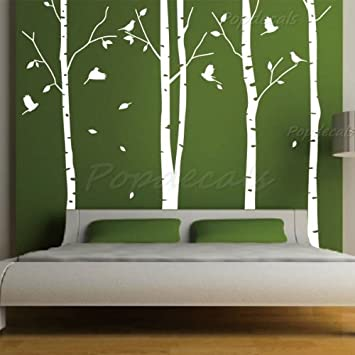 Amazoncom Set Of Big Birch Trees In White Ft Nursery Wall - Vinyl wall decals birch tree