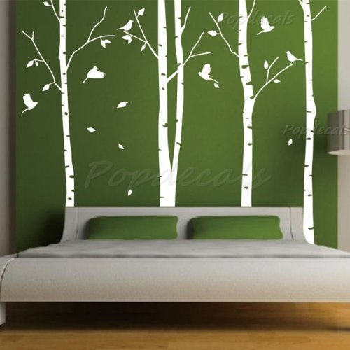 Set of 4 Big Birch Trees in White- 8.5 ft nursery wall decals tree vinyl wall art wall decor sticker wall vinyl stickers pop baby gift PopDecals