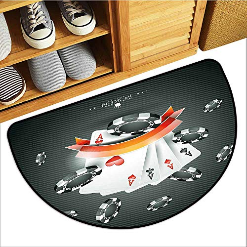 Low-Profile Mat, Poker Tournament Decorations Custom Doormats for High Traffic Areas, Artistic Display Spread Chips with Poker Cards Lifestyle (Black White Red, H16 x D24 Semicircle)
