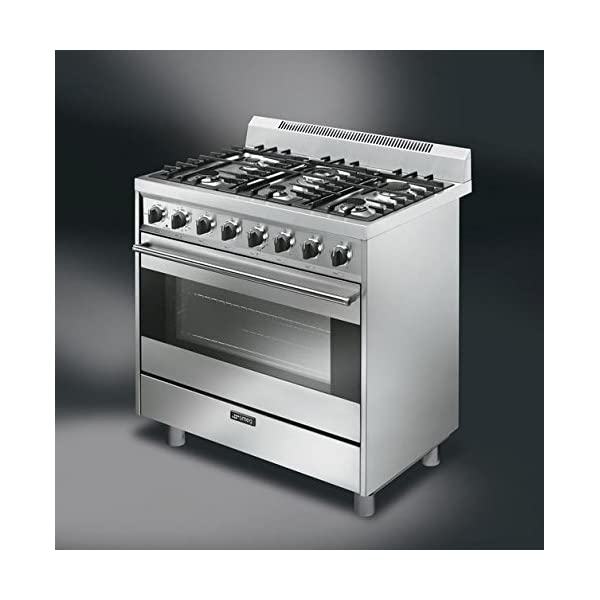 "Smeg C36GGXU 36"" Free Standing Gas Range with 6 Gas Burners and 3 Cooking Modes, Stainless Steel 2"