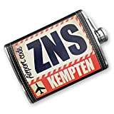 Kitchen Bar Kempten 8oz Flask Stitched Airportcode ZNS Kempten Stainless Steel - Neonblond