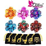 DND Dice Set, 42 Pieces Polyhedral Dices Dungeons and Dragons Dice with Gold Patten Bags for Dungeon and Dragons MTG RPG DND D20 D12 D10 D8 D4