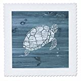3dRose White Painted Turtle on Blue Weatherboard-Not Real Wood Quilt Square, 14 x 14