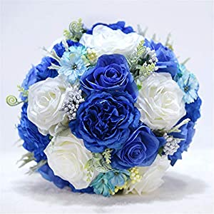 MOJUN Artificial Flowers Rose Peony Bouquet Silk Flower Artificial Roses Bridal Wedding Bouquet for Home Garden Party Wedding Decoration, Sapphire