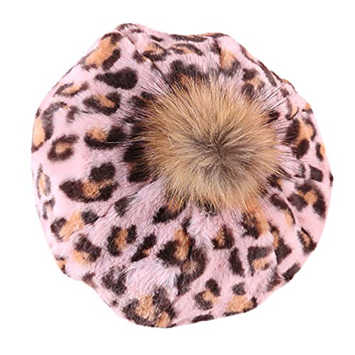 WM & MW Fashion Teen Girl Womens Berets Hat Winter Warm Leopard Cap Hairball Velvet Pumpkin Hat (Pink)