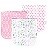 "Baby Burp Cloth Large 21''x10'' Size Premium Absorbent Triple Layer 3 Pack Gift Set For Girls ""Claire Set"" by Copper Pearl"