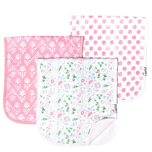 """Baby Burp Cloth Large 21x10 Size Premium Absorbent Triple Layer 3 Pack Gift Set For Girls """"Claire Set"""" by Copper Pearl"""