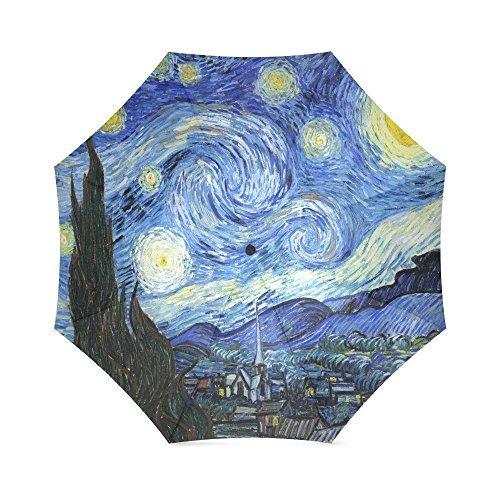 Van Gogh Umbrella - The Starry Night by Vincent Van Gogh, Landscape Painting Folding Rain Umbrella/Parasol/Sun Umbrella