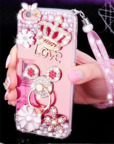 Galaxy S5 Mirror Case,Galaxy S5 Crystal Rhinestone Case,Luxury Bling Pearl Diamond Crystal Rhinestone Mirror Cover Soft TPU Phone Case For Samsung Galaxy S5,NO5 (S5 Hello Kitty Bling Case)