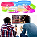 Godecal 24 Pack Game Bracelet Party Supplies, Silicone Rubber Wristband Glow in The Dark for Kids Birthday Gaming Themed Party Favors - Adult Size and Mix Color