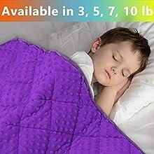 MAXTID Violet Weighted Blanket for Kids 5lbs 36inx48in for Children 30 to 70lbs Child Heavy Blanket Enjoy Natural Deep Sleep Purple