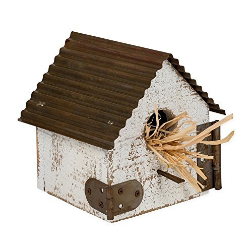 Honey In Me Large Rustic Whitewashed Distressed 6 x 6 Wood and Metal Roof Decorative Birdhouse