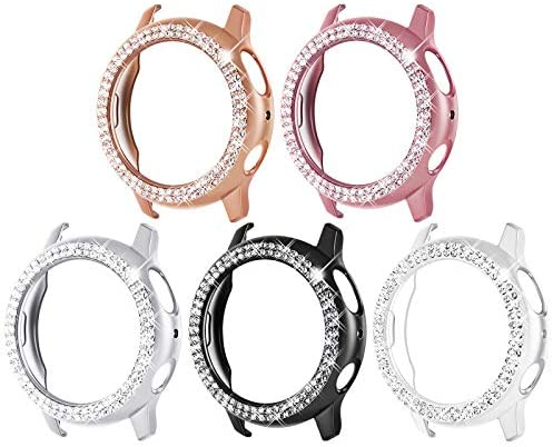 Surace Galaxy Watch Active 2 Case 44mm, Bling Frame Protective Case Compatible for Samsung Galaxy Watch Active 2 (5 Packs, Rose Gold/Pink Gold/Black/Silver/Clear)-44mm