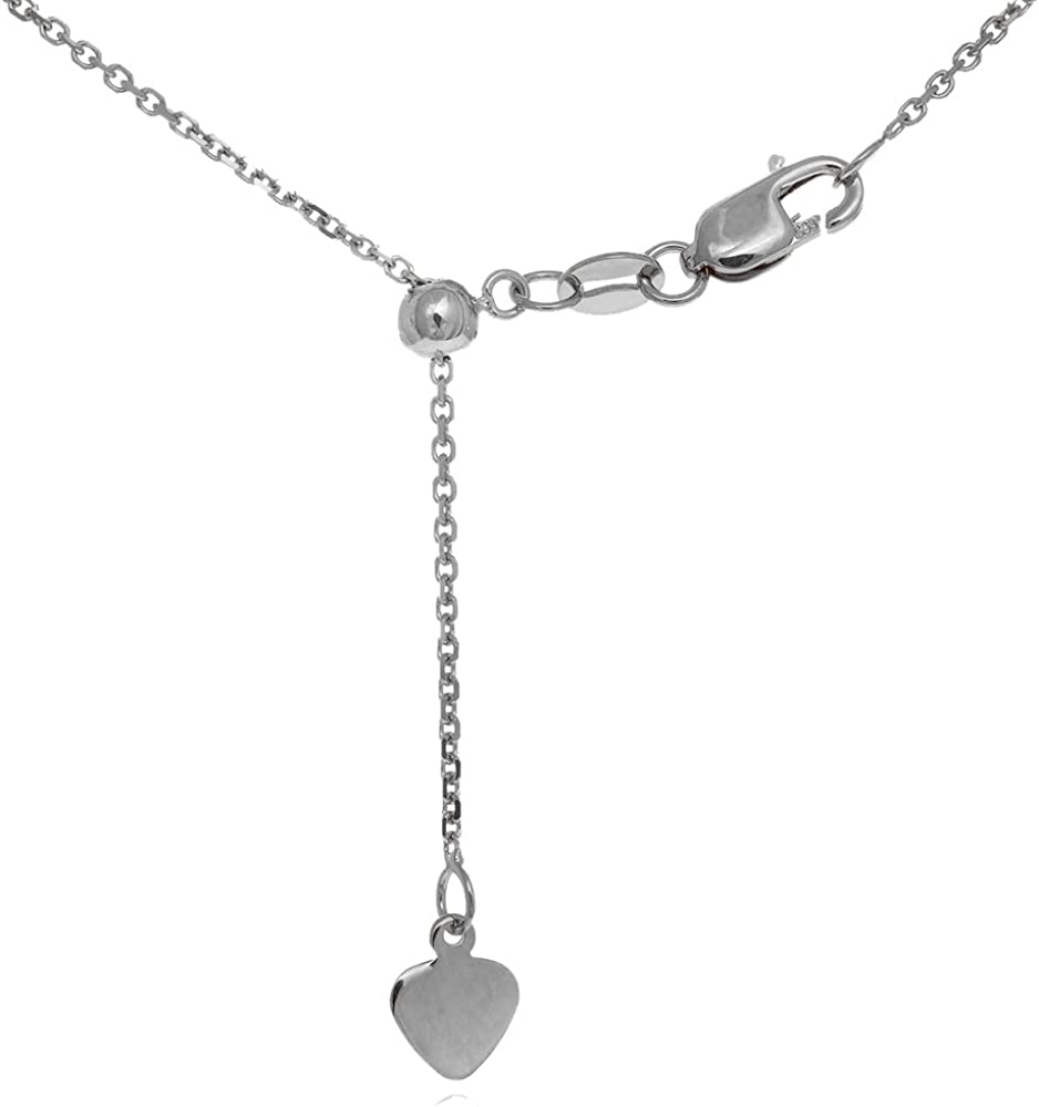 Cable Chain Necklace 16/'/' 22/'/' Unisex 925 Sterling Silver 14k White Gold Bar
