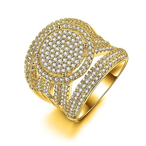 Redbarry Luxury Circle Round Cubic Zircon CZ Diamond 18K Yellow Gold Plated Wedding Band Cocktail Rings, Size 7