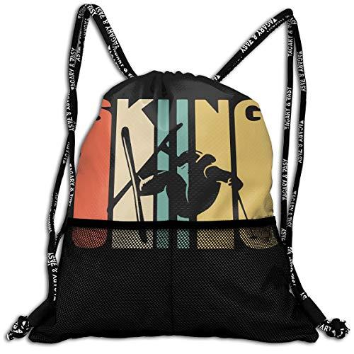 (Men & Women Vintage Skiing Skier Silhouette Drawstring Backpack Athletic School Bag For Shopping Sport Yoga)