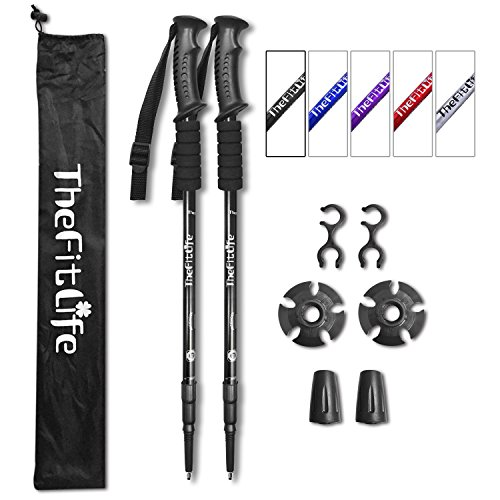 Ultralight Trekking Poles - With Anti-Shock Quick Lock System, Telescopic & Collapsible