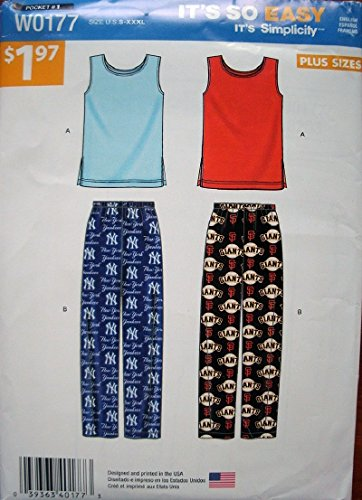 Simplicity Mens Womens Pattern - Simplicity It's So Easy Pattern W0177 Women's and Men's Pull On Pants and Knit Top PLUS SIZES
