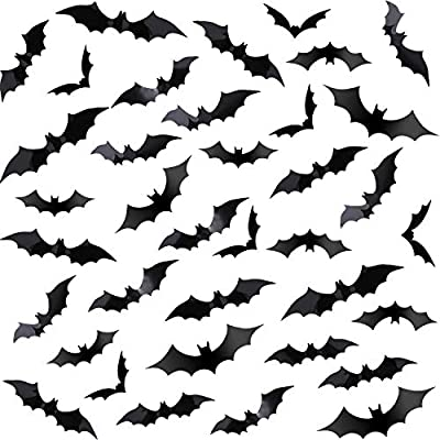 Chengu 140 Pieces Black PVC 3D Scary Bats Wall Sticker Wall Decal DIY Home Window Decoration Set for Halloween Party Supplies