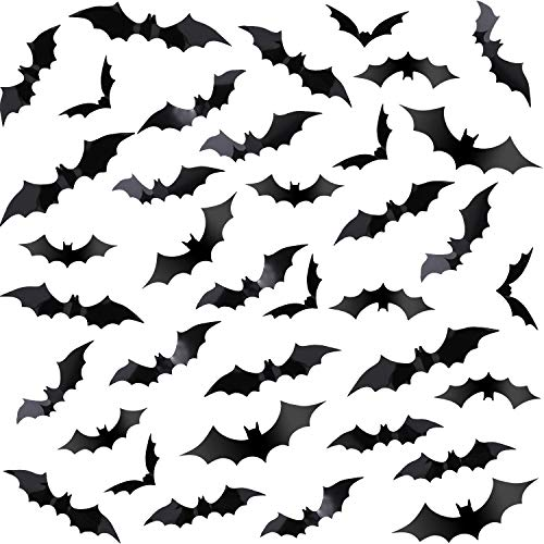 Chengu 140 Pieces Black PVC 3D Scary Bats Wall Sticker Wall Decal DIY Home Window Decoration Set for Halloween Party Supplies ()