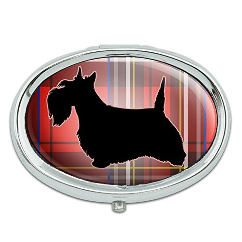 Scottie Dog on Red Plaid Scottish Terrier Metal Oval Pill Case (Friend Scottie Dog)