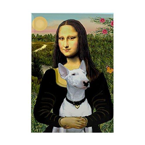 """CafePress Mona Lisa/Bull Terrier Rectangle Magnet, 2""""x3"""" Refrigerator Magnet"""